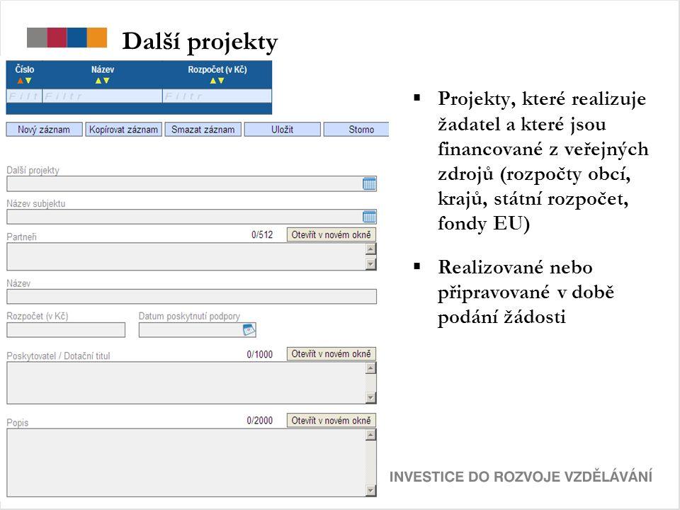 Další projekty  Projekty, které realizuje žadatel a které jsou financované z veřejných zdrojů (rozpočty obcí, krajů, státní rozpočet, fondy EU)  Realizované nebo připravované v době podání žádosti