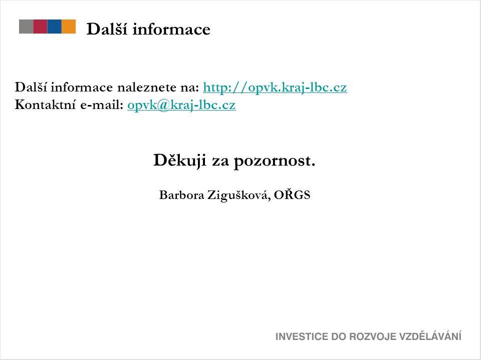 Další informace Další informace naleznete na: http://opvk.kraj-lbc.czhttp://opvk.kraj-lbc.cz Kontaktní e-mail: opvk@kraj-lbc.czopvk@kraj-lbc.cz Děkuji za pozornost.