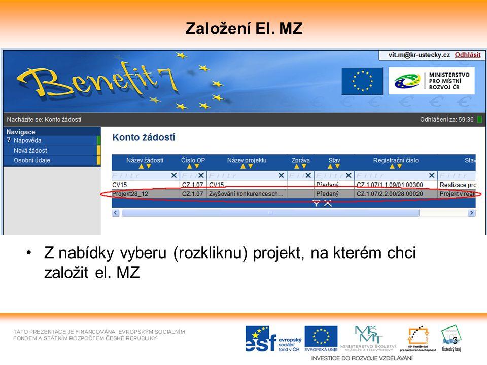 4 Založení El. MZ