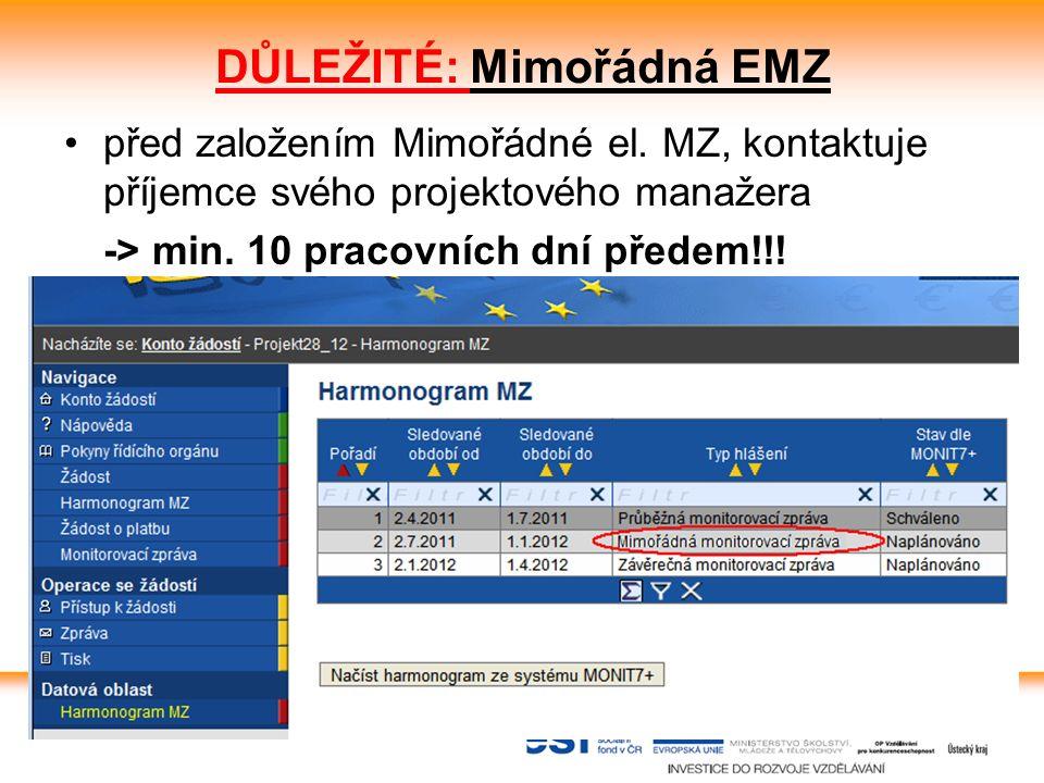8 EMZ Stránka se zobrazí po založení a otevření nové MZ