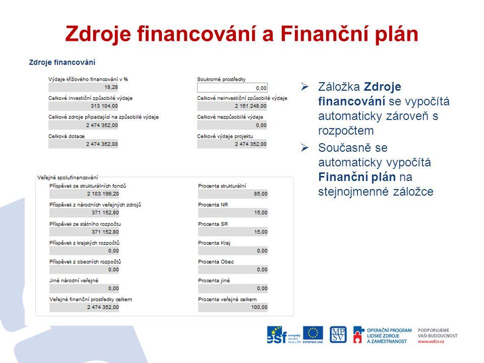 Zdroje financování a Finanční plán  Záložka Zdroje financování se vypočítá automaticky zároveň s rozpočtem  Současně se automaticky vypočítá Finanční plán na stejnojmenné záložce