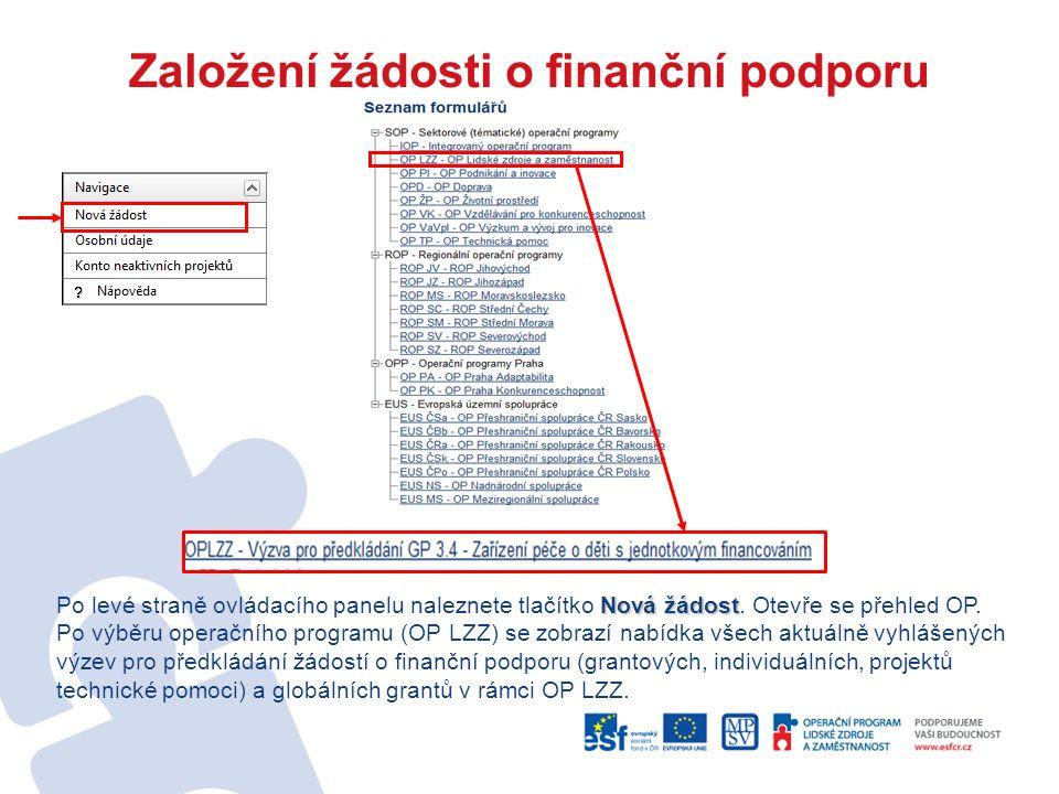 Založení žádosti o finanční podporu Nová žádost Po levé straně ovládacího panelu naleznete tlačítko Nová žádost.
