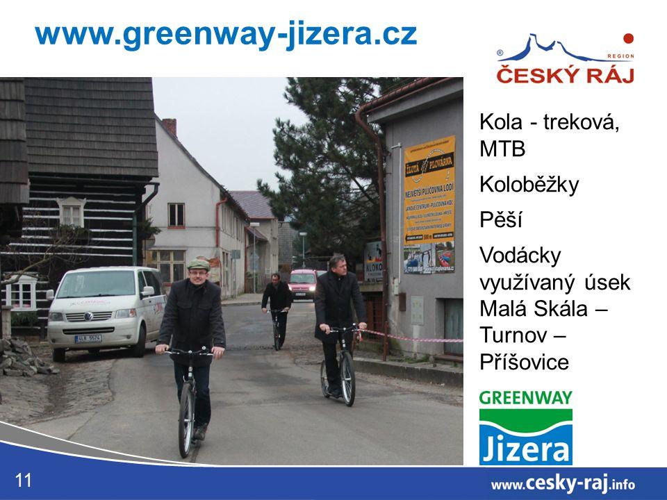 11 www.greenway-jizera.cz Kola - treková, MTB Koloběžky Pěší Vodácky využívaný úsek Malá Skála – Turnov – Příšovice