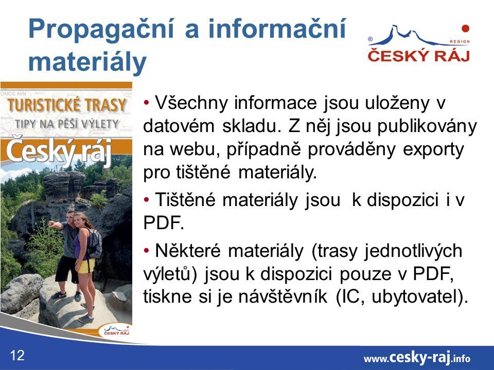 12 Propagační a informační materiály Všechny informace jsou uloženy v datovém skladu.