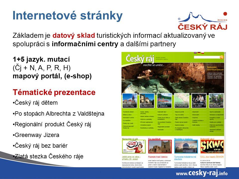 Internetové stránky Základem je datový sklad turistických informací aktualizovaný ve spolupráci s informačními centry a dalšími partnery 1+5 jazyk.