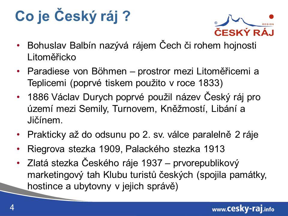 4 Bohuslav Balbín nazývá rájem Čech či rohem hojnosti Litoměřicko Paradiese von Böhmen – prostror mezi Litoměřicemi a Teplicemi (poprvé tiskem použito v roce 1833) 1886 Václav Durych poprvé použil název Český ráj pro území mezi Semily, Turnovem, Kněžmostí, Libání a Jičínem.