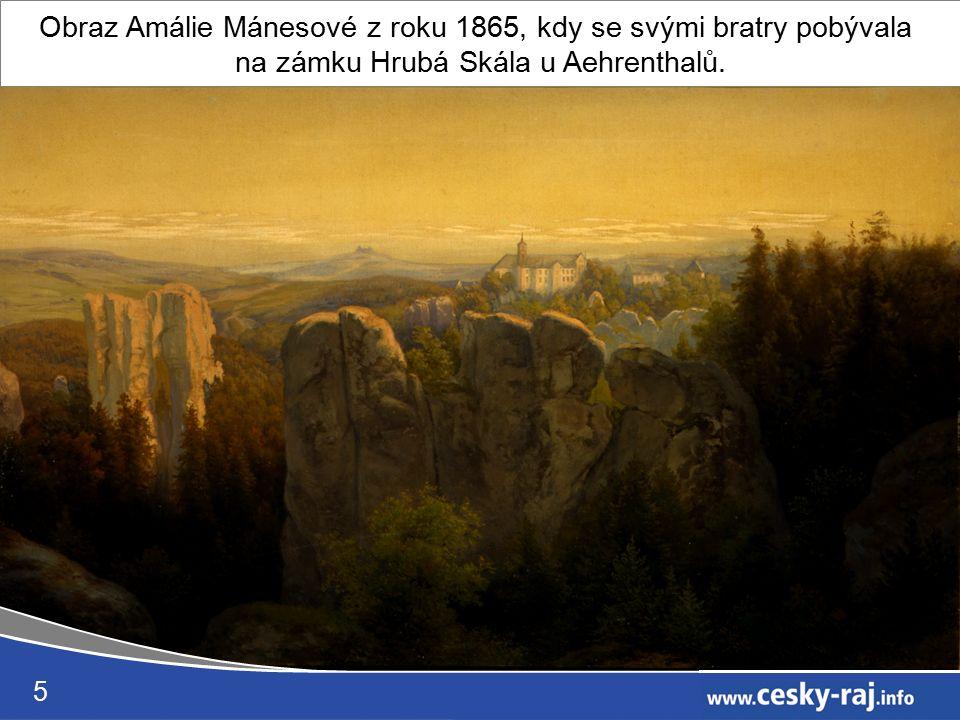 5 Obraz Amálie Mánesové z roku 1865, kdy se svými bratry pobývala na zámku Hrubá Skála u Aehrenthalů.