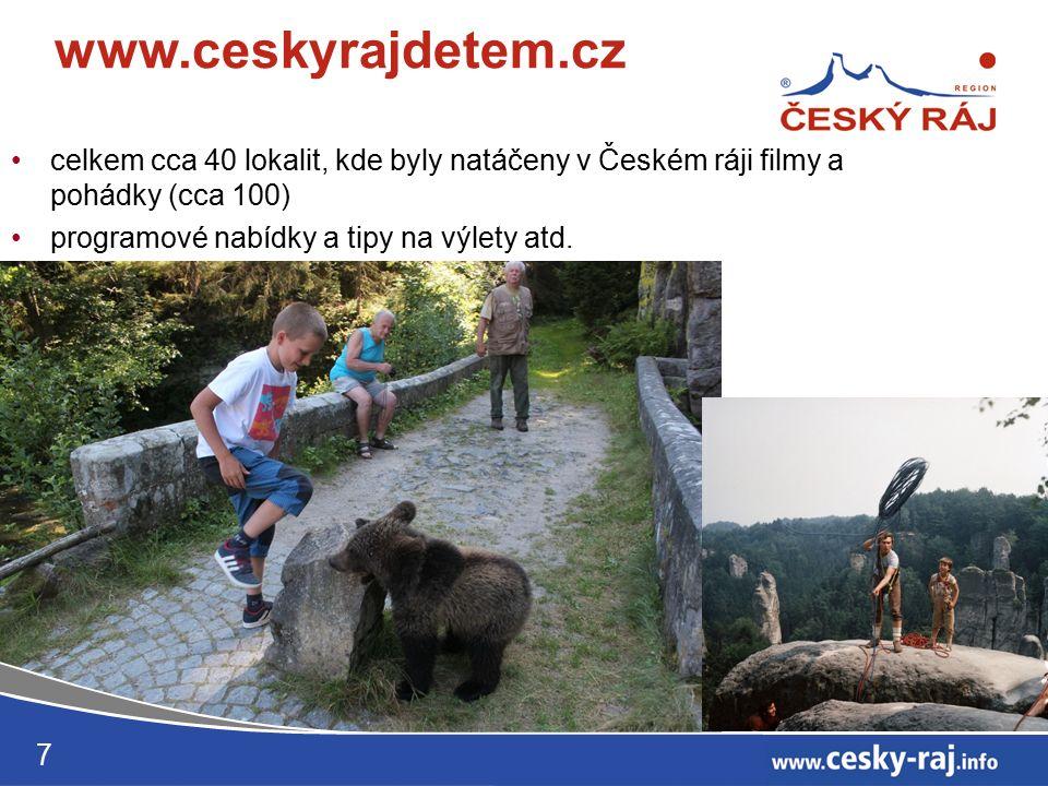 celkem cca 40 lokalit, kde byly natáčeny v Českém ráji filmy a pohádky (cca 100) programové nabídky a tipy na výlety atd.