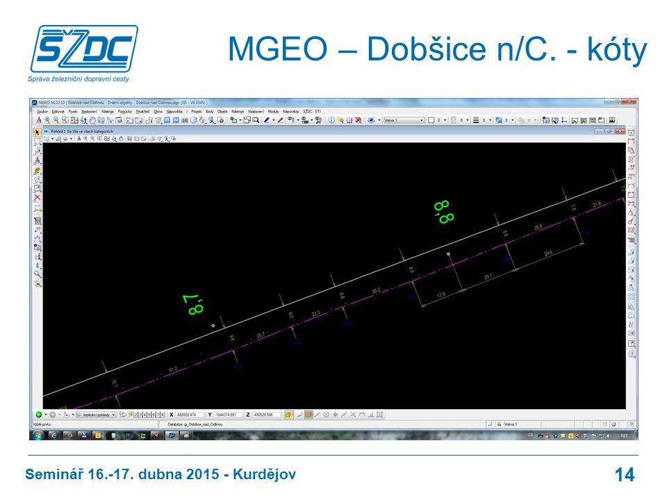 MGEO – Dobšice n/C. - kóty Seminář 16.-17. dubna 2015 - Kurdějov 14