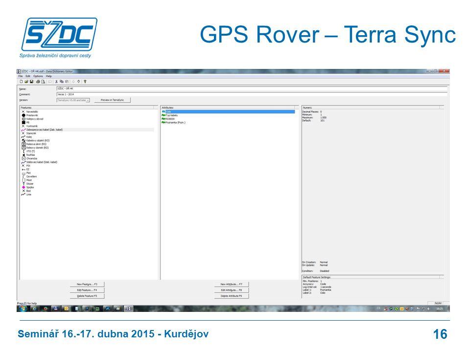 Seminář 16.-17. dubna 2015 - Kurdějov 16 GPS Rover – Terra Sync