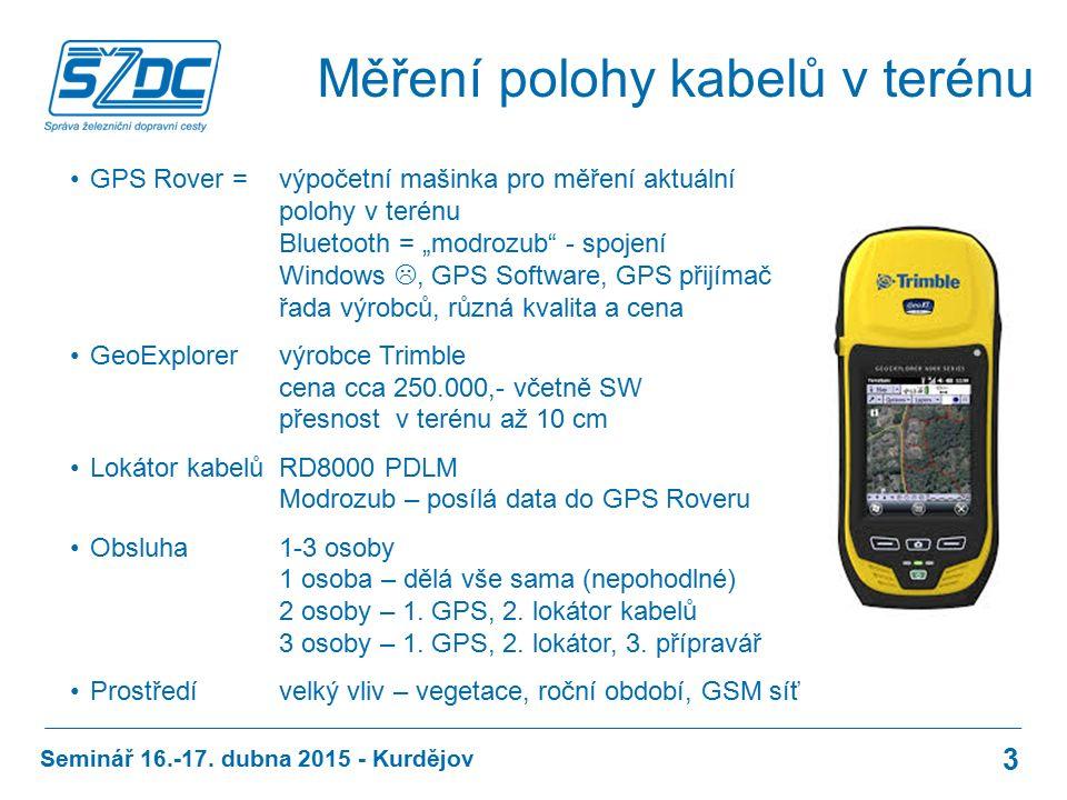 """Měření polohy kabelů v terénu GPS Rover = výpočetní mašinka pro měření aktuální polohy v terénu Bluetooth = """"modrozub - spojení Windows , GPS Software, GPS přijímač řada výrobců, různá kvalita a cena GeoExplorer výrobce Trimble cena cca 250.000,- včetně SW přesnost v terénu až 10 cm Lokátor kabelůRD8000 PDLM Modrozub – posílá data do GPS Roveru Obsluha1-3 osoby 1 osoba – dělá vše sama (nepohodlné) 2 osoby – 1."""