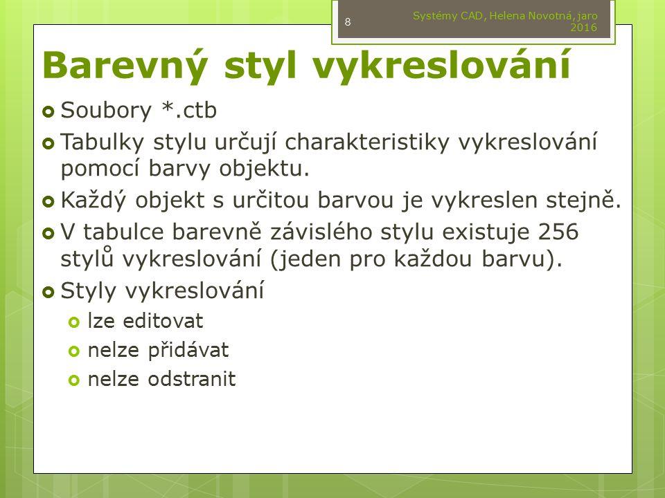 Pojmenovaný styl vykreslování  Soubory *.stb  Tabulky obsahují uživatelsky definované styly vykreslování.