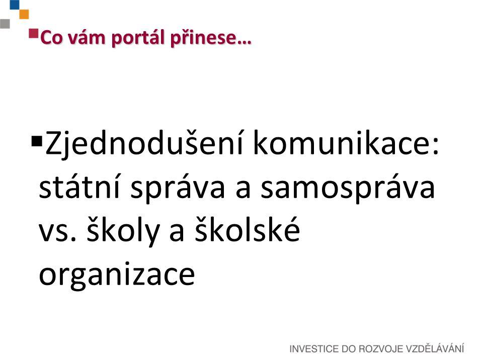 Co vám portál přinese…  Zjednodušení komunikace: státní správa a samospráva vs.