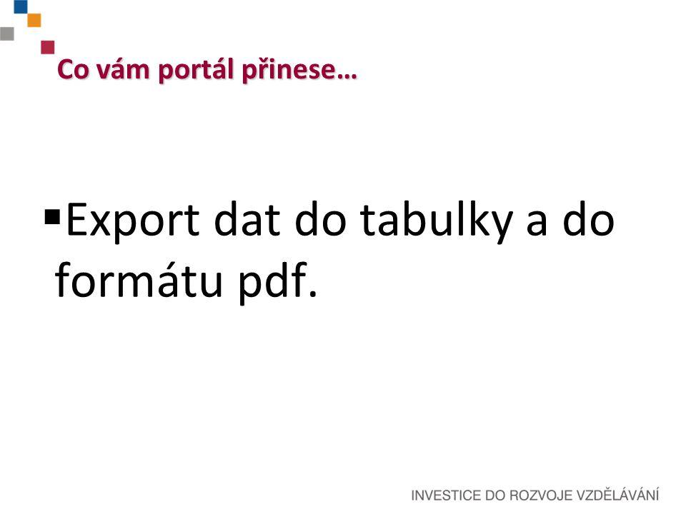 Co vám portál přinese…  Export dat do tabulky a do formátu pdf.