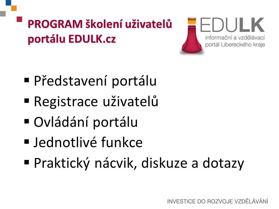  Představení portálu  Registrace uživatelů  Ovládání portálu  Jednotlivé funkce  Praktický nácvik, diskuze a dotazy PROGRAM školení uživatelů portálu EDULK.cz