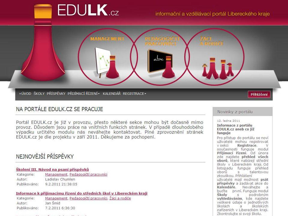 Struktura webové stránky portálu Současný stav portálu EDULK.cz aneb co funguje...