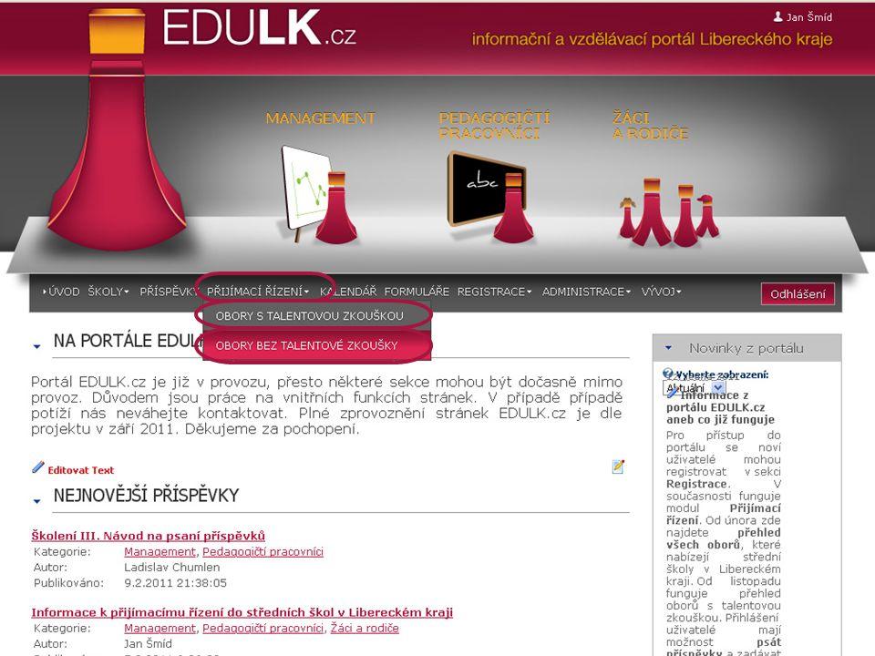 Modul přijímací řízení včetně podrobného vyhledávání Současný stav portálu EDULK.cz aneb co funguje...