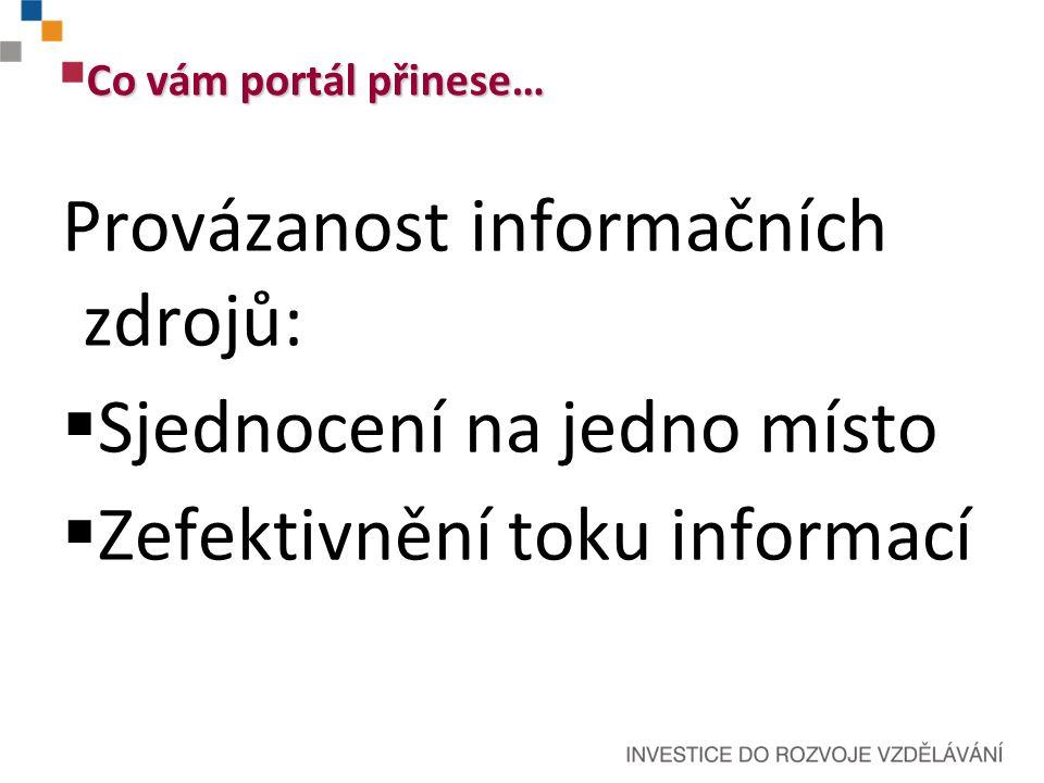 Co vám portál přinese… Provázanost informačních zdrojů:  Sjednocení na jedno místo  Zefektivnění toku informací