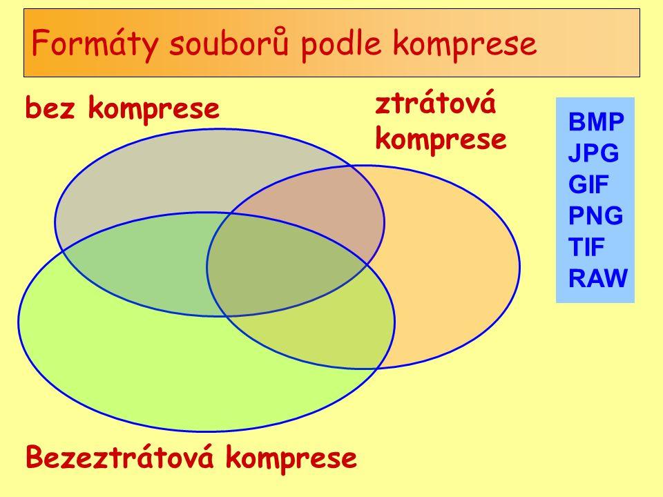 Formáty souborů podle komprese bez komprese ztrátová komprese Bezeztrátová komprese BMP JPG GIF PNG TIF RAW