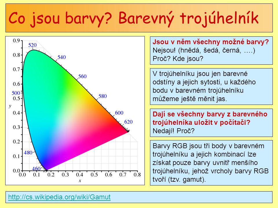 Co jsou barvy? Barevný trojúhelník http://cs.wikipedia.org/wiki/Gamut Jsou v něm všechny možné barvy? Nejsou! (hnědá, šedá, černá, ….) Proč? Kde jsou?