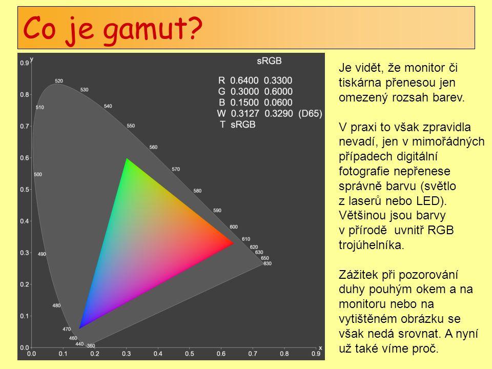 Co je gamut. Je vidět, že monitor či tiskárna přenesou jen omezený rozsah barev.