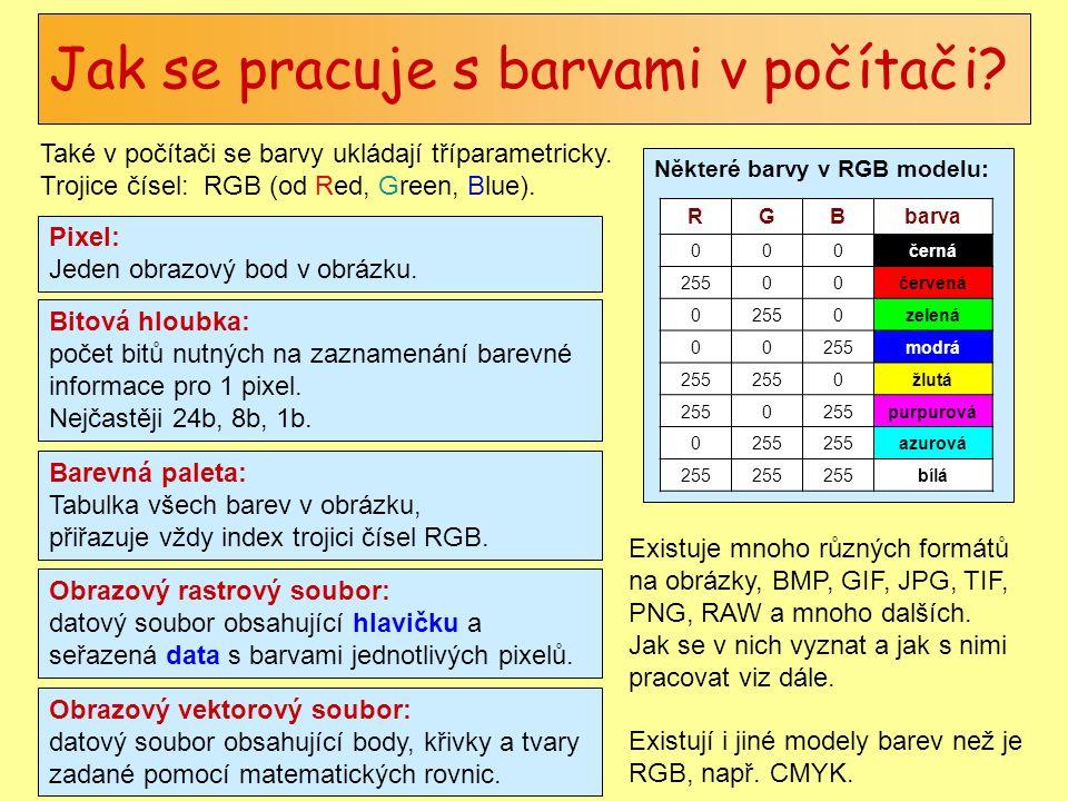 Některé barvy v RGB modelu: Jak se pracuje s barvami v počítači? Také v počítači se barvy ukládají tříparametricky. Trojice čísel: RGB (od Red, Green,