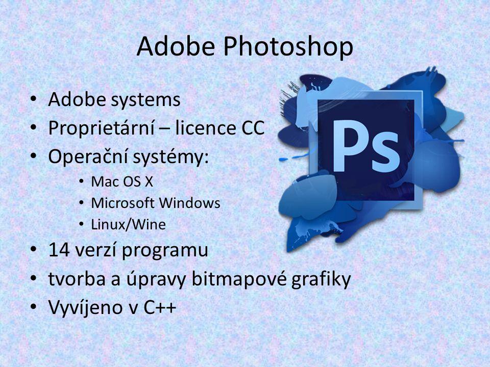 Adobe Photoshop Adobe systems Proprietární – licence CC Operační systémy: Mac OS X Microsoft Windows Linux/Wine 14 verzí programu tvorba a úpravy bitmapové grafiky Vyvíjeno v C++