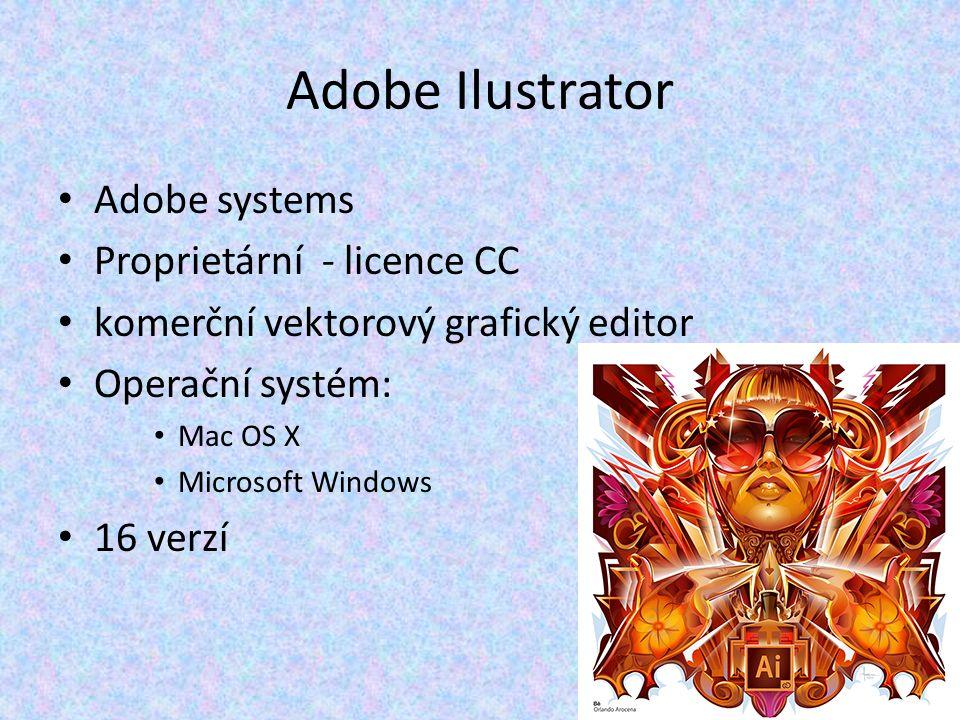 Adobe Ilustrator Adobe systems Proprietární - licence CC komerční vektorový grafický editor Operační systém: Mac OS X Microsoft Windows 16 verzí