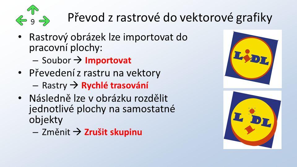 Převod z rastrové do vektorové grafiky 9 Rastrový obrázek lze importovat do pracovní plochy: – Soubor  Importovat Převedení z rastru na vektory – Ras