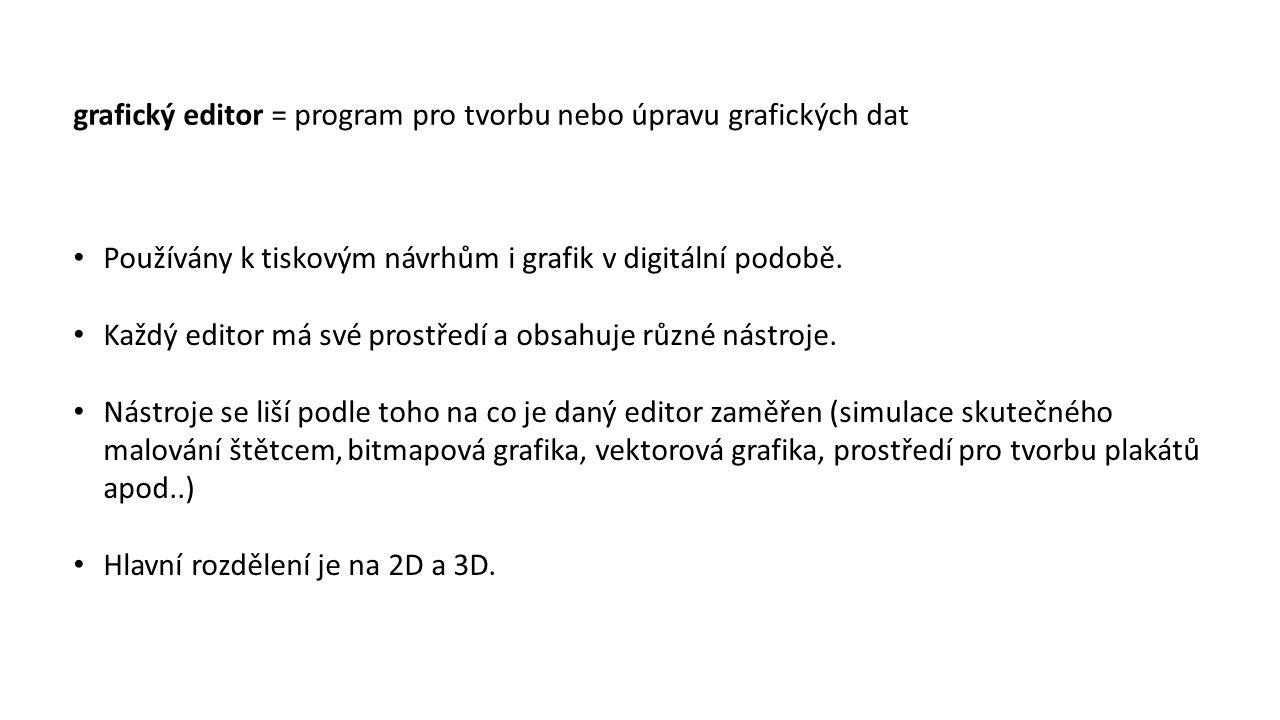 grafický editor = program pro tvorbu nebo úpravu grafických dat Používány k tiskovým návrhům i grafik v digitální podobě. Každý editor má své prostřed