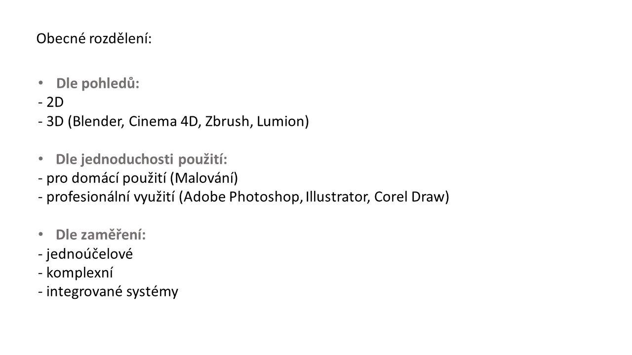Obecné rozdělení: Dle pohledů: - 2D - 3D (Blender, Cinema 4D, Zbrush, Lumion) Dle jednoduchosti použití: - pro domácí použití (Malování) - profesionální využití (Adobe Photoshop, Illustrator, Corel Draw) Dle zaměření: - jednoúčelové - komplexní - integrované systémy