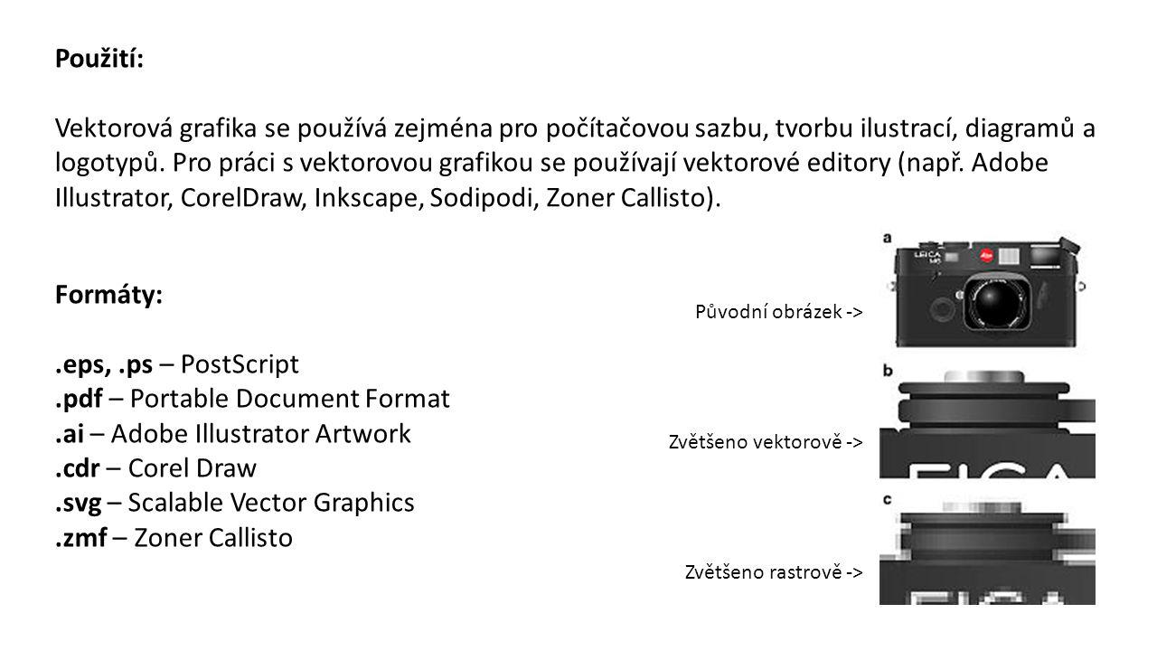 Použití: Vektorová grafika se používá zejména pro počítačovou sazbu, tvorbu ilustrací, diagramů a logotypů. Pro práci s vektorovou grafikou se používa