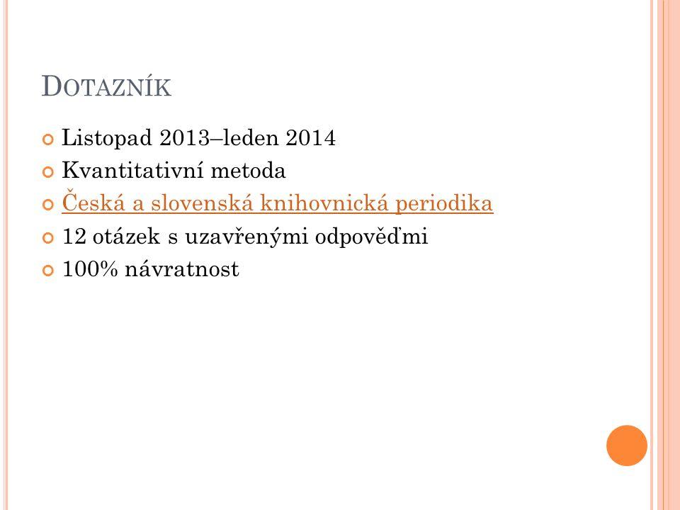 D OTAZNÍK Listopad 2013–leden 2014 Kvantitativní metoda Česká a slovenská knihovnická periodika 12 otázek s uzavřenými odpověďmi 100% návratnost
