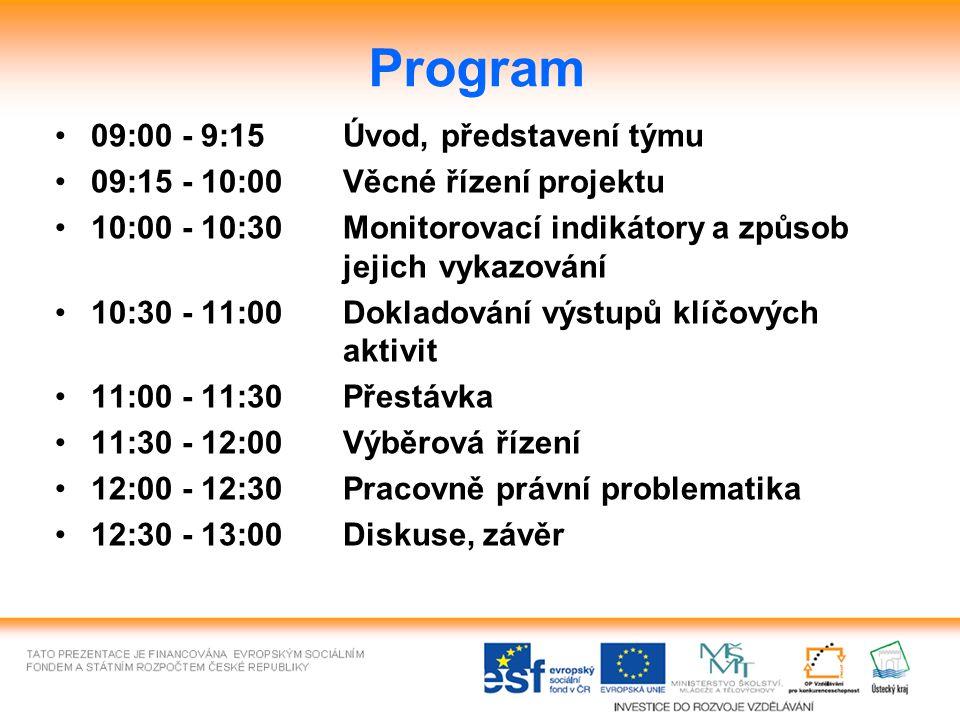 Program 09:00 - 9:15Úvod, představení týmu 09:15 - 10:00Věcné řízení projektu 10:00 - 10:30Monitorovací indikátory a způsob jejich vykazování 10:30 - 11:00Dokladování výstupů klíčových aktivit 11:00 - 11:30Přestávka 11:30 - 12:00Výběrová řízení 12:00 - 12:30Pracovně právní problematika 12:30 - 13:00Diskuse, závěr