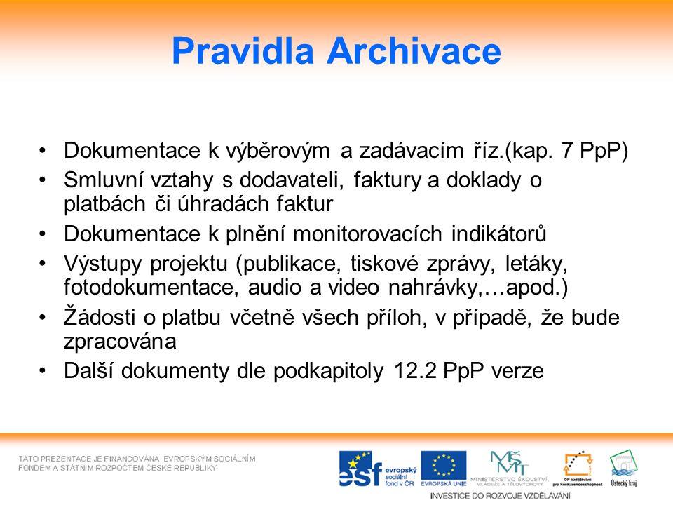 Pravidla Archivace Dokumentace k výběrovým a zadávacím říz.(kap. 7 PpP) Smluvní vztahy s dodavateli, faktury a doklady o platbách či úhradách faktur D