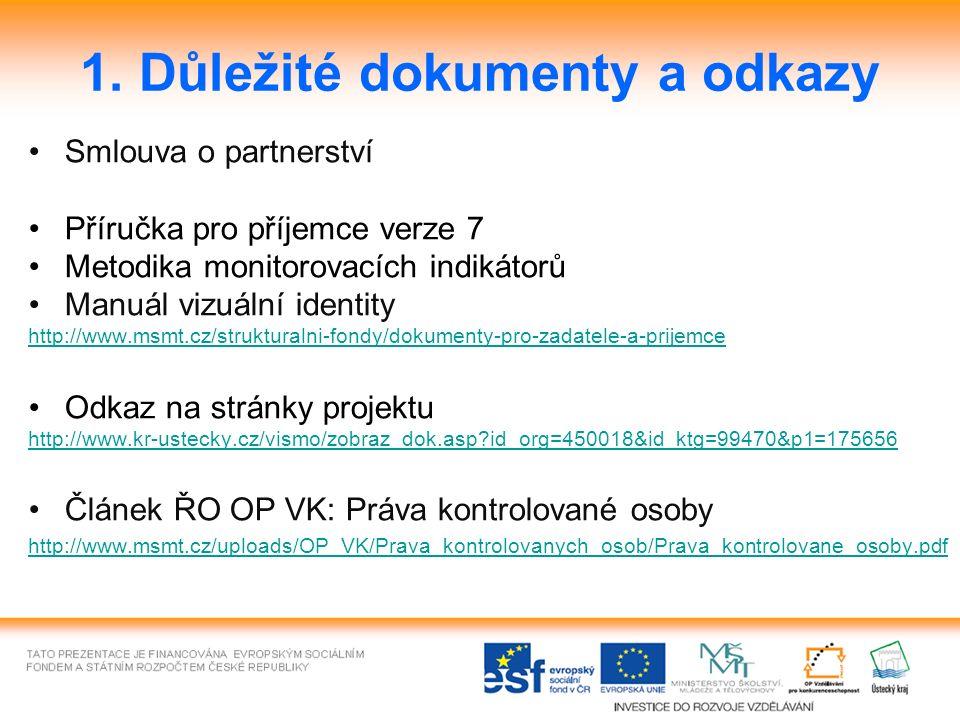 1. Důležité dokumenty a odkazy Smlouva o partnerství Příručka pro příjemce verze 7 Metodika monitorovacích indikátorů Manuál vizuální identity http://