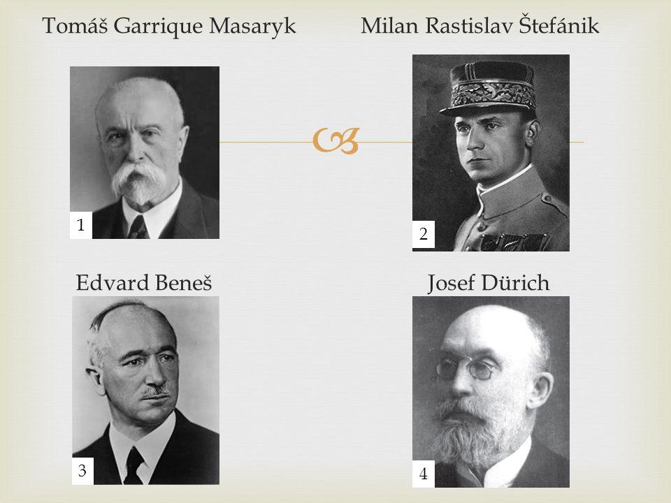  Tomáš Garrique MasarykMilan Rastislav Štefánik Edvard BenešJosef Dürich 1 2 4 3