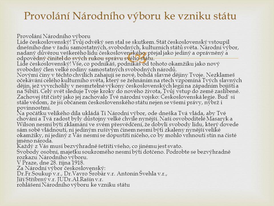  Provolání Národního výboru Lide československý. Tvůj odvěký sen stal se skutkem.
