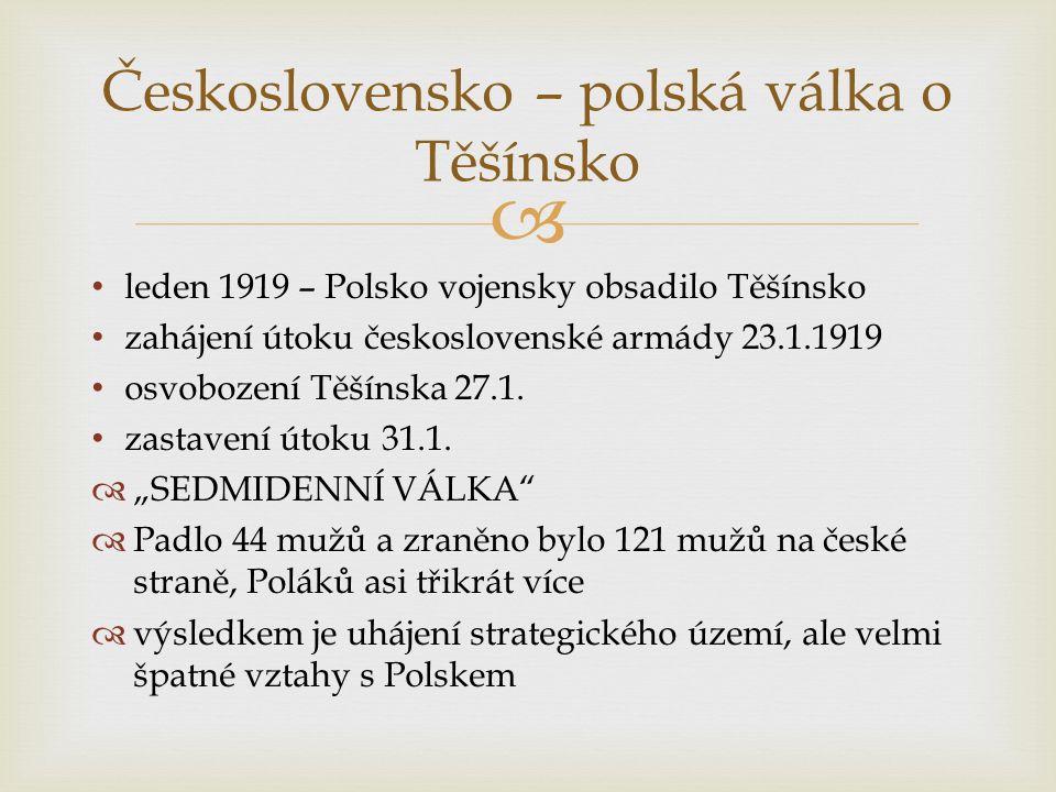  leden 1919 – Polsko vojensky obsadilo Těšínsko zahájení útoku československé armády 23.1.1919 osvobození Těšínska 27.1.