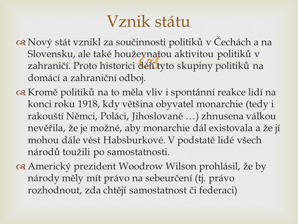   Nový stát vznikl za součinnosti politiků v Čechách a na Slovensku, ale také houževnatou aktivitou politiků v zahraničí.