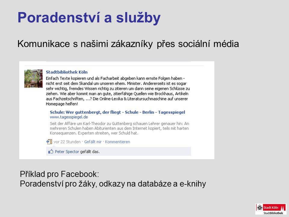 Poradenství a služby Komunikace s našimi zákazníky přes sociální média Příklad pro Facebook: Poradenství pro žáky, odkazy na databáze a e-knihy