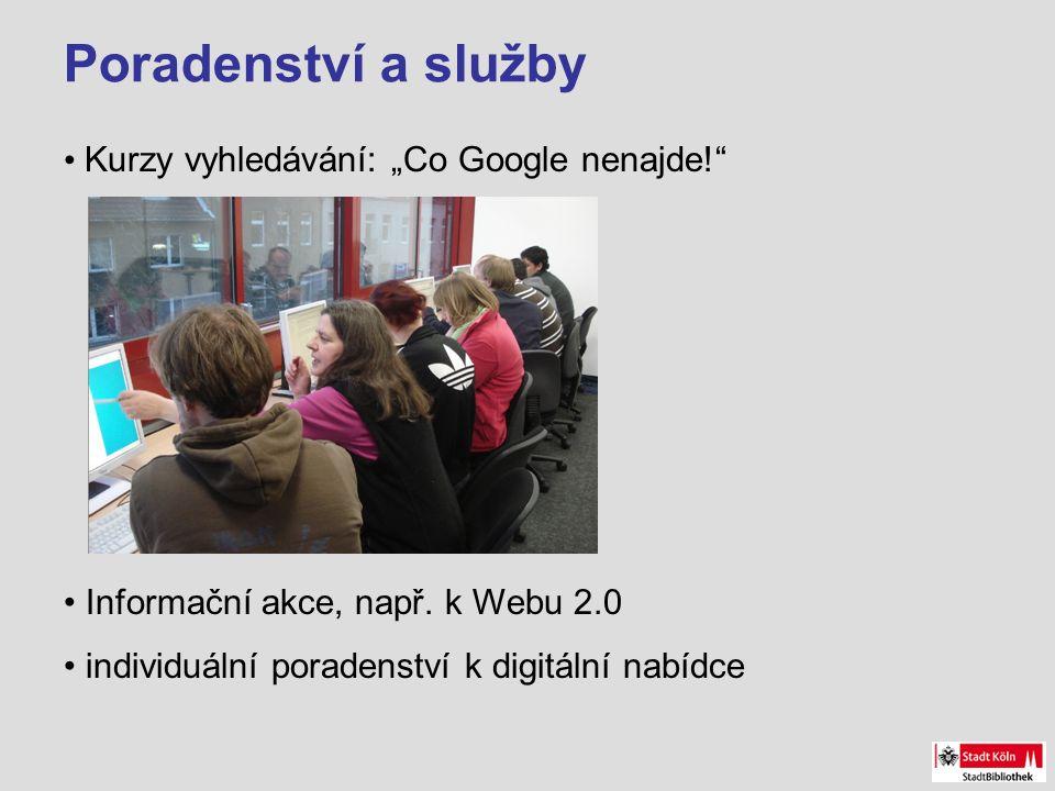 """Poradenství a služby Kurzy vyhledávání: """"Co Google nenajde! Informační akce, např."""