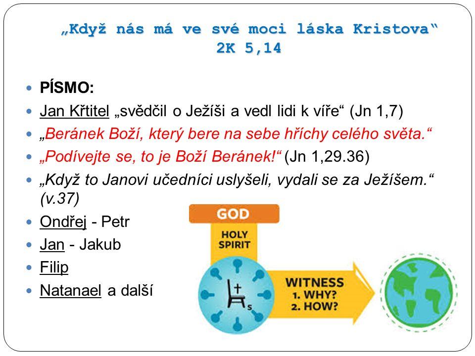 """""""Když nás má ve své moci láska Kristova"""" 2K 5,14 PÍSMO: Jan Křtitel """"svědčil o Ježíši a vedl lidi k víře"""" (Jn 1,7) """"Beránek Boží, který bere na sebe h"""