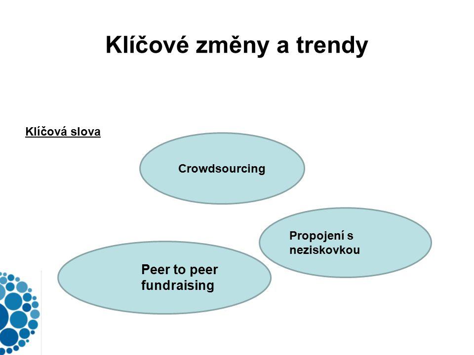 Klíčové změny a trendy Klíčová slova Crowdsourcing Peer to peer fundraising Propojení s neziskovkou