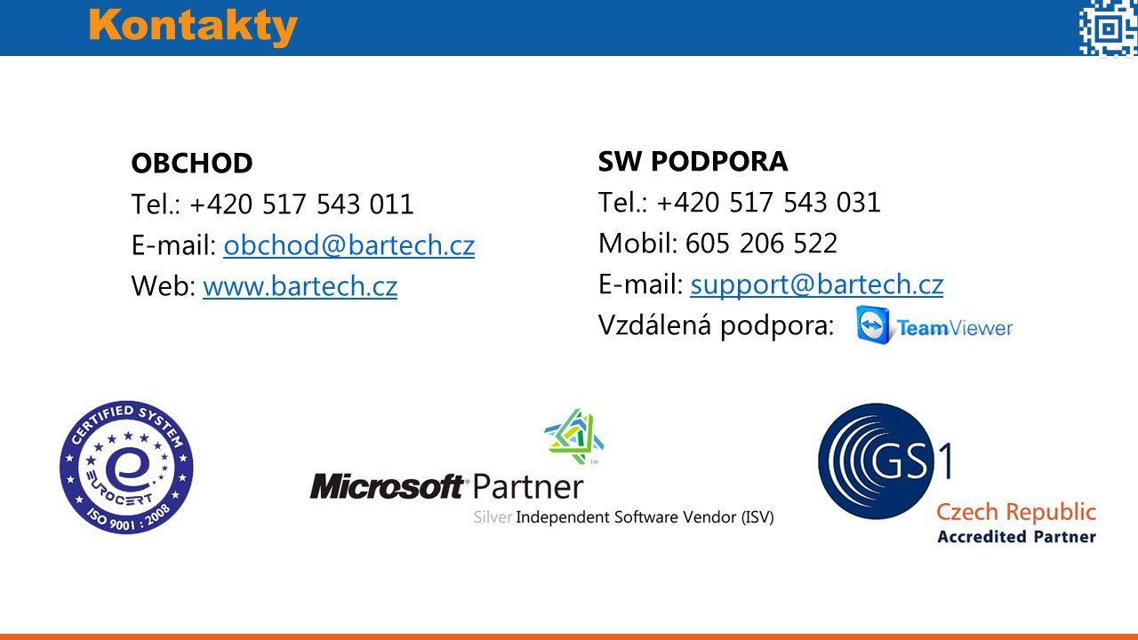 Kontakty SW PODPORA Tel.: +420 517 543 031 Mobil: 605 206 522 E-mail: support@bartech.czsupport@bartech.cz Vzdálená podpora: OBCHOD Tel.: +420 517 543 011 E-mail: obchod@bartech.czobchod@bartech.cz Web: www.bartech.czwww.bartech.cz