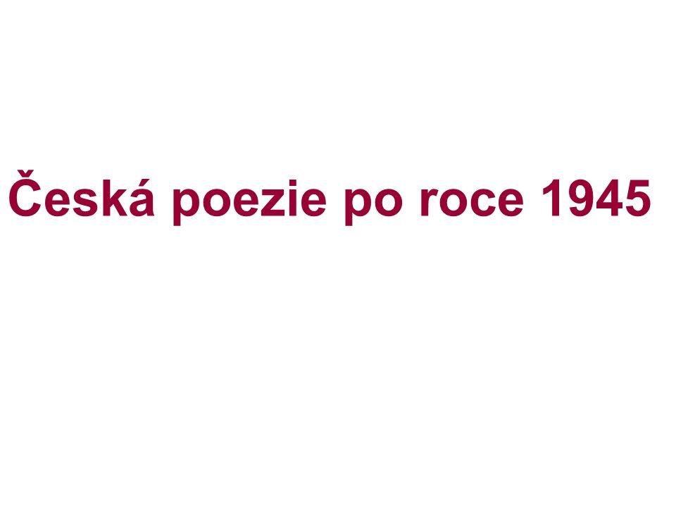 Vítězslav Nezval (1900 – 1958) - představitel poetismu a surrealismu, básník, prozaik dramatik, překladatel, výtvarník a hudebník - narodil se v Biskoupkách na Moravě, - studia na UK nedokončil - stal se spisovatelem z povolání - člen Devětsilu - lehká tvorba, usiloval o životní optimismus Poválečná léta Zpěv míru – touha po míru, protiválečné názory, budovatelské nadšení Z domoviny – vyznání lásky k domovu Chrpy a města – důvěrný vztah k rodné zemi, k vesnici z dětství