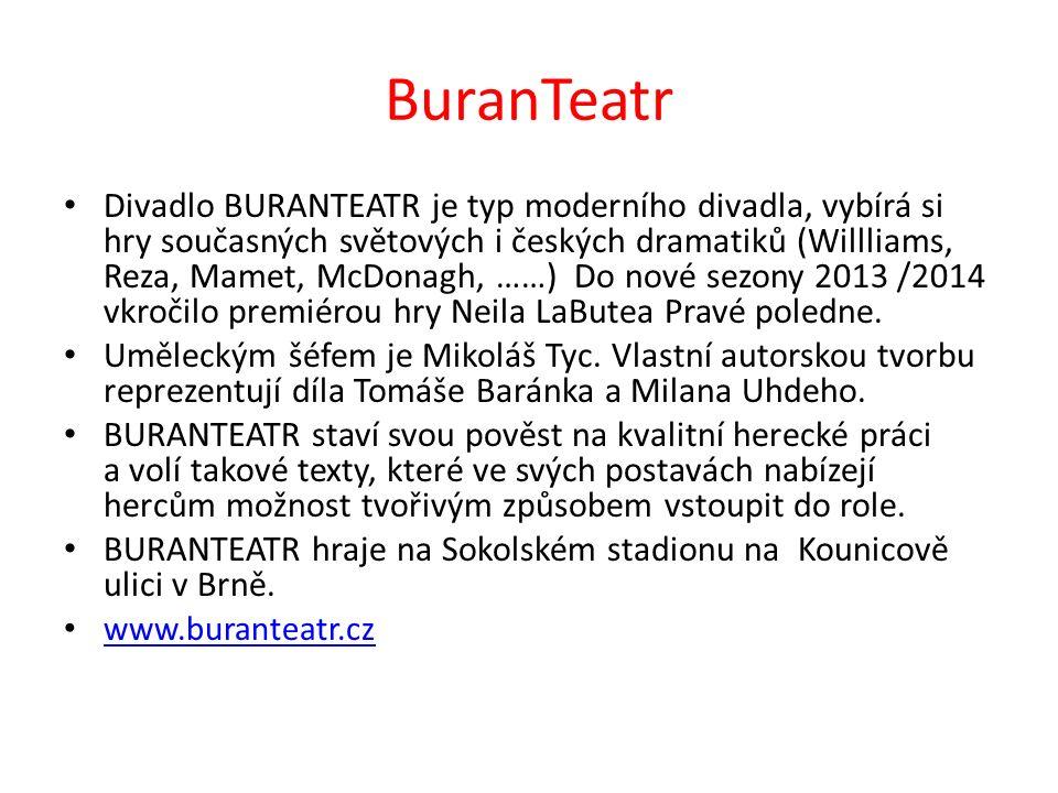 BuranTeatr Divadlo BURANTEATR je typ moderního divadla, vybírá si hry současných světových i českých dramatiků (Willliams, Reza, Mamet, McDonagh, ……)