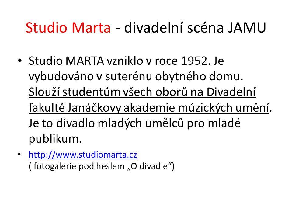 Studio Marta - divadelní scéna JAMU Studio MARTA vzniklo v roce 1952. Je vybudováno v suterénu obytného domu. Slouží studentům všech oborů na Divadeln
