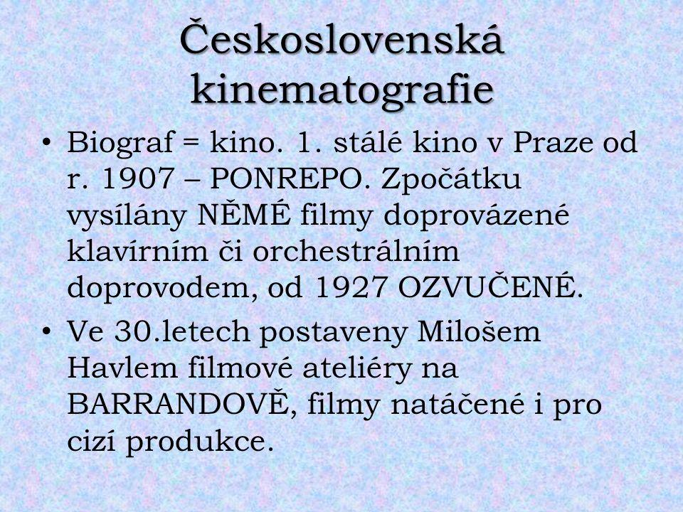 Československá kinematografie Biograf = kino. 1. stálé kino v Praze od r. 1907 – PONREPO. Zpočátku vysílány NĚMÉ filmy doprovázené klavírním či orches