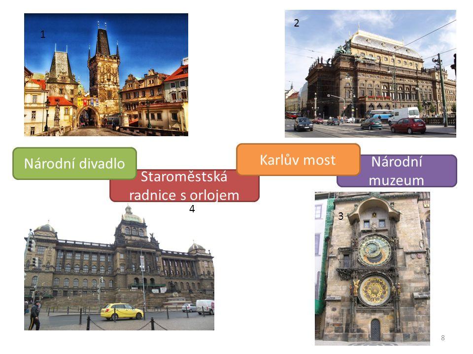 8 1 2 3 4 Staroměstská radnice s orlojem Národní muzeum Karlův most Národní divadlo